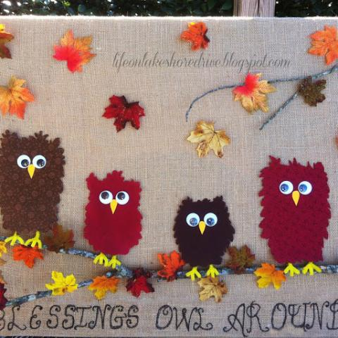 Fall Fabric Owl  and Burlap Wall Art