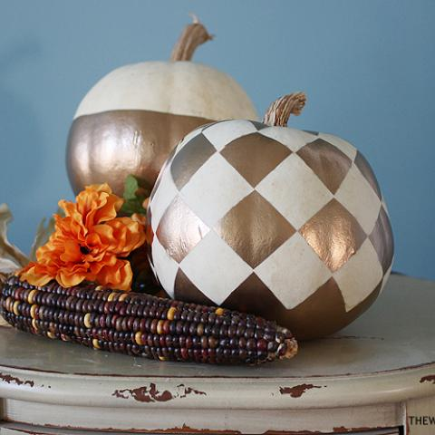 Gold Checkered Pumpkins