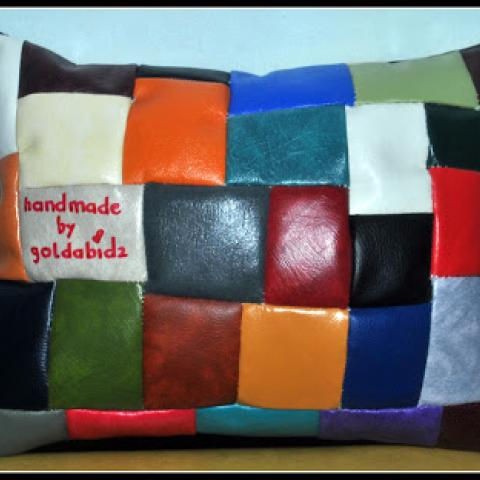 Handmade Scrap Leatherette Pillow